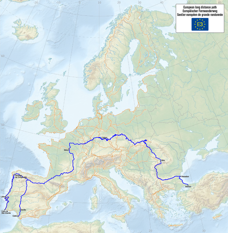 E3 european hiking route map